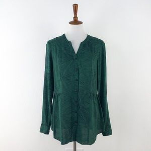 ModCloth Green Long Sleeve V Neck Button Up Top